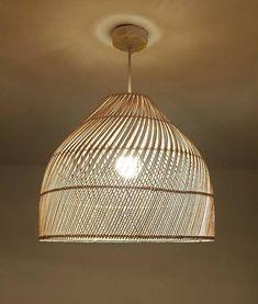 Bedroom Lighting, Chandelier Lighting, Ceiling Lamp Shades, Ceiling Lights, White Beach Houses, Bamboo Light, Java, Rattan Basket, Light Decorations
