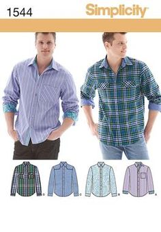Simplicity Sewing Pattern 1544 Men's Shirt with fabric variations. Description: Men's button front shirt with optional pockets, shoulder tabs, an Mens Sewing Patterns, Sewing Men, Simplicity Sewing Patterns, Love Sewing, Sewing Clothes, Clothing Patterns, Men Clothes, Men's Clothing, Hand Sewing