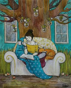 Beautiful woman reading with fox Reading Art, Woman Reading, I Love Reading, I Love Books, Good Books, My Books, Book Illustration, Book Nerd, Book Lovers