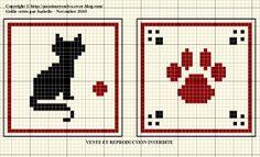 chat - cat - empreinte - point de croix - cross stitch - Blog : http://broderiemimie44.canalblog.com/