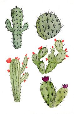 Watercolor Cacti Print by FourthAndElm on Etsy