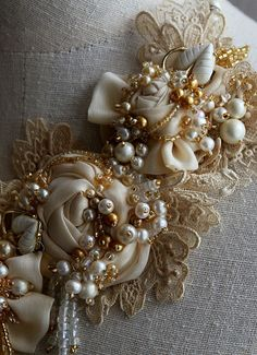 FRESH CREAM Ivory Lace Beaded Textile Pearl by carlafoxdesign