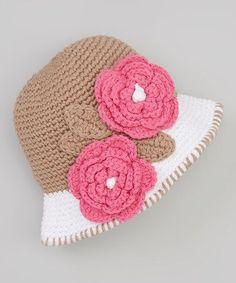 Tan Flower Bucket Hat  crochet inspiration