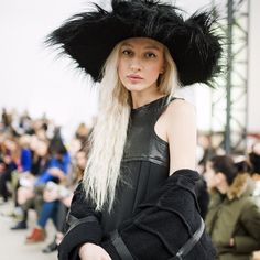 Olimpia Whitemustache before Anton Belinskiy show at MBKFD wearing FINCH fur hat <3