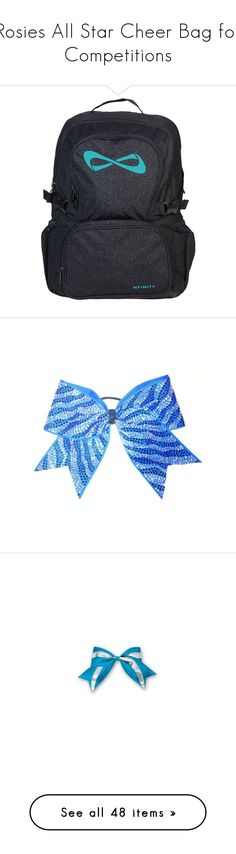 """Rosies All Star Cheer Bag for Competitions"" by hiimmichelle on Polyvore featuring bags, accessories, hair accessories, rhinestone hair accessories, bow hair accessories, rhinestone hair bows, cheer, home, home decor and backgrounds"