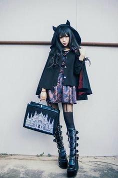 here be dragons — Miwako Demon Cape re-release and pre-order. Japanese Fashion Trends, Japanese Street Fashion, Tokyo Fashion, Harajuku Fashion, Fashion Ideas, Gothic Lolita Dress, Gothic Lolita Fashion, Gothic Outfits, Alternative Mode