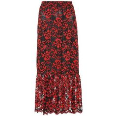 Ganni Flynn Lace Skirt (1.260 DKK) ❤ liked on Polyvore featuring skirts, red, ganni, red knee length skirt, lacy skirt, red skirts and knee length lace skirt