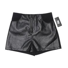 Guess Faux Leather Shorts (75 PEN) ❤ liked on Polyvore featuring shorts, black, guess shorts, leather look shorts, vegan leather shorts and faux-leather shorts