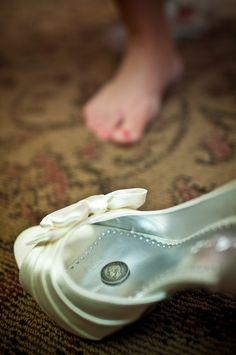 Wedding GOOD LUCK CHARM!   Coin under foot in your shoe.  Photos by Tausha Ann Photography /// Nashville Wedding Photographer