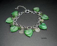 Green shell and glass beaded charm bracelet, Heart charm bracelet £18.00
