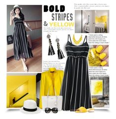 """Bold Stripes & Yellow"" by diva1023 ❤ liked on Polyvore featuring Alexandre Vauthier, Dana Buchman, Paul Andrew, BaubleBar, Bottega Veneta and House of Lafayette"