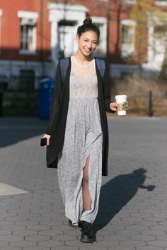 16 A+ College Street-Style Snaps #refinery29  http://www.refinery29.com/college-style#slide2  Sarah Nesheim is a media, culture, and communications major at NYU and wears a Necessary Clothing sweater, Kimchi Blue dress, and Doc Martens.