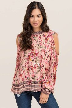 af19c2890983d Darla High Neck Floral Cold Shoulder Top Floral Cold Shoulder Top