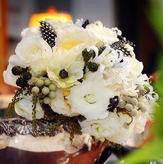 Wedding bouquet by designer Trish Van De Merkt - Chicago, Illinois, with Patience garden roses, white lisianthus, white nerine lilies, fern ...