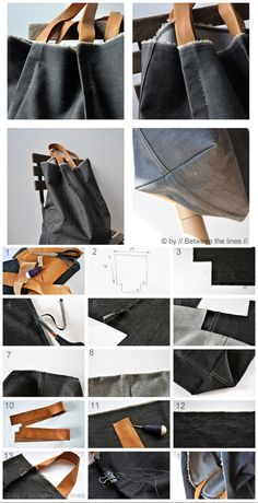 DIY denim bag - I am going to make these for my shopping totes - LOVE IT! :-) Catherine - big black clutch bag, bag buy, suede black bag *sponsored https://www.pinterest.com/bags_bag/ https://www.pinterest.com/explore/bag/ https://www.pinterest.com/bags_bag/luxury-bags/ http://www.ebay.com/rpp/handbags