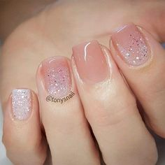 Short Nails With A Nude Glitter Design #shortnails #glitternails Nude nails are trendy these days. Discover classy and simple nail designs in nude shades. This nail art is the real beauty. #nudenails  #nailsdesign #nailart #nails