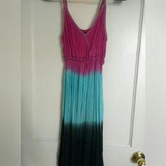 Boho Dyed Sundress Black blue and pink dyed sundress Dresses Midi