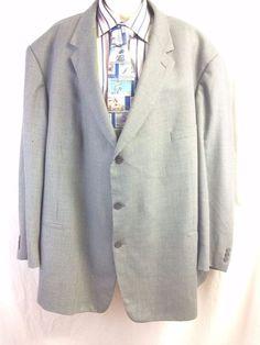 Pierre Cardin Men Sport Coat 58R Houndstooth 100% Wool 3 Button Grey Blue Blazer #PierreCardin #TwoButton