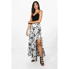 Boohoo Naomi Floral Ruffle Side Maxi Skirt ($30) ❤ liked on Polyvore featuring skirts, maxi skirts, long white maxi skirt, long white skirt, pleated midi skirts and white pleated maxi skirt