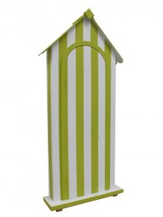 Event Prop Hire: Traditional Beach Hut - Front Only (Green & White)