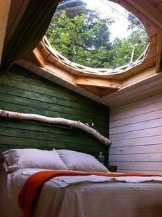 This would be awesome!  Moon view. Huge skylight over bed. Bedroom. Window