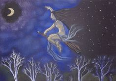 La bruja. Pintura a pastel sobre papel