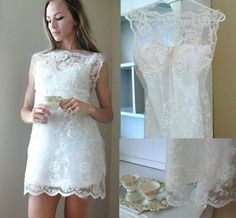 lace mini sewn from vintage slip and vintage lace fabric