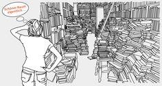 Illustration - too many books - for Antiquariat Haker, Berlin