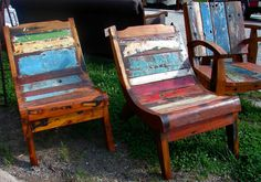 Bali Reclaimed Teak Paint Side Accent Lounge Chair