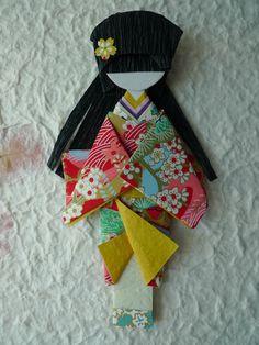 Japanese origami doll Hinaningyō  Yukari by Lackadaisica on Etsy, $55.00