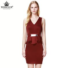 WISHCLUB 2015 New Summer Style Women Dress Casual Mini V-Neck Sleeveless Short A Line Party Evening Elegant Dress With Metal