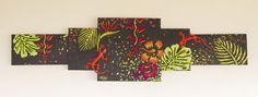 """""""Végétation luxuriante"""" Acrylique sur toile 40x150 cm -  Motifs en relief"""