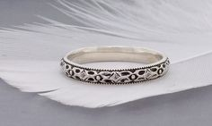 Sterling silver stacking ring textured with modern geometric floral pattern - pinned by pin4etsy.com
