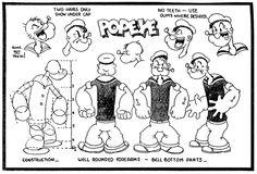 Max Fleischer Popeye model sheet 1933