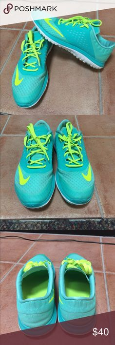 WOMENS NIKE SNEAKERS Beautiful Tiffany blue and neon yellow Nike sneakers, comfortable for both running and lifting, easily one of my favorite pairs I just have too many, lightly worn but in great condition, considering any offer Nike Shoes Sneakers
