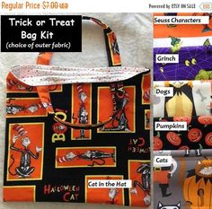 SALE Trick or Treat Bag Kit, Halloween, Dr. Seuss Characters, Pumpkins, Cats and Dogs by MaddysFabricStash on Etsy https://www.etsy.com/listing/520977660/sale-trick-or-treat-bag-kit-halloween-dr