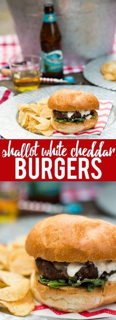 These Shallot White Cheddar Burgers use shallots to flavor the burger, and are topped with white cheddar and a garlic aioli for a flavor bomb gourmet burger!
