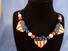 Hand painted/wood/Patriotic/Red White and Blue Heart by DEJAVU143, $13.99