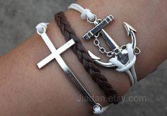 Bracelet  white wax rope woven bracelet ancient silver by Jiadan, $7.99