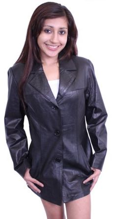 Women's Black Blazer Genuine Leather Jacket Fornt 3 buttons Closure. Good Quality Leather. Two side pockets.  #Dona_Michi #Apparel
