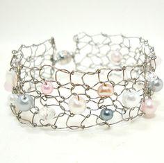 Rose Blush Steel Wire Bracelet Pink Wedding Bridal by lapisbeach