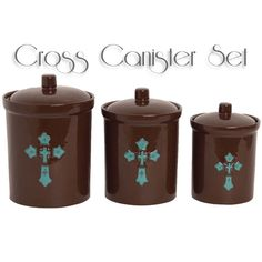 Western Cross Canister Set features a detailed raised relief rustic turquoise western cross set against a high gloss chocolate brown finish to coordinate with your Western decor. It will be the highlight of your kitchen counter top adding more to the western theme. The easy care stoneware is dishwasher, oven and microwave safe.