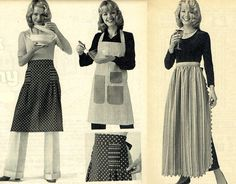 PDF Vintage 1970s Ladies Apron Sewing Pattern sooo...Full of Retro Home-Making Goodness! 4 to makex