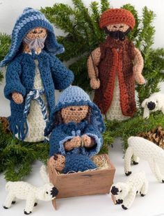 Crocheted Nativity Dolls Amigurumi ( Joseph, Mary, Baby Jesus, Shepherd, Large and Small Lamb) ~ Free Pattern