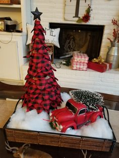 Awesome 39 Superb Primitive Country Christmas Trees Ideas To Copy Right Now. # Christmas decorations 39 Superb Primitive Country Christmas Trees Ideas To Copy Right Now Primitive Country Christmas, Country Christmas Trees, Christmas Red Truck, Cone Christmas Trees, Farmhouse Christmas Decor, Christmas Home, White Christmas, Buffalo Plaid Christmas Ornaments, Christmas Ideas