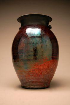 Large Raku Vase  Raku Pottery  Copper Vase  Metallic  by clayguyry, $225.00
