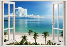 Beach wall decal 3D window, coast wall sticker for home decor, sea wall art for home decoration Boat baby palm tree nursery children [110]