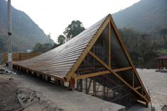 John Lin + Olivier Ottevaere: Pinch library & community center, Shuanghe village, Yunnan, China, 2014. Government led reconstruction effort after 2012 earthquake. Majority of village houses destroyed, leaving residents living in tents for up to 1 year. http://www.archdaily.com/499654/the-pinch-library-and-community-center-olivier-ottevaere-john-lin/