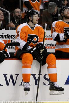 Defenseman Braydon Coburn (#5) of the Philadelphia Flyers sits on the boards