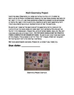 Are you teaching geometry? This geometry project and rubric is designed for students to find or make real life examples of geometric terms.